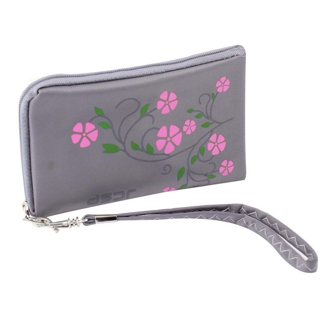 Unique Bargains L Shaped Zipper 1 Pocket Gray Wrist Purse Bag Purple w String for Moblie Phone