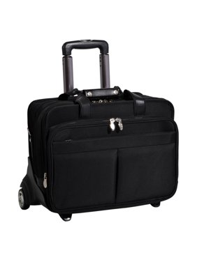 McKlein ROOSEVELT, Patented Detachable Wheeled Laptop Briefcase, Tech-Lite Ballistic Nylon, Black (74555)