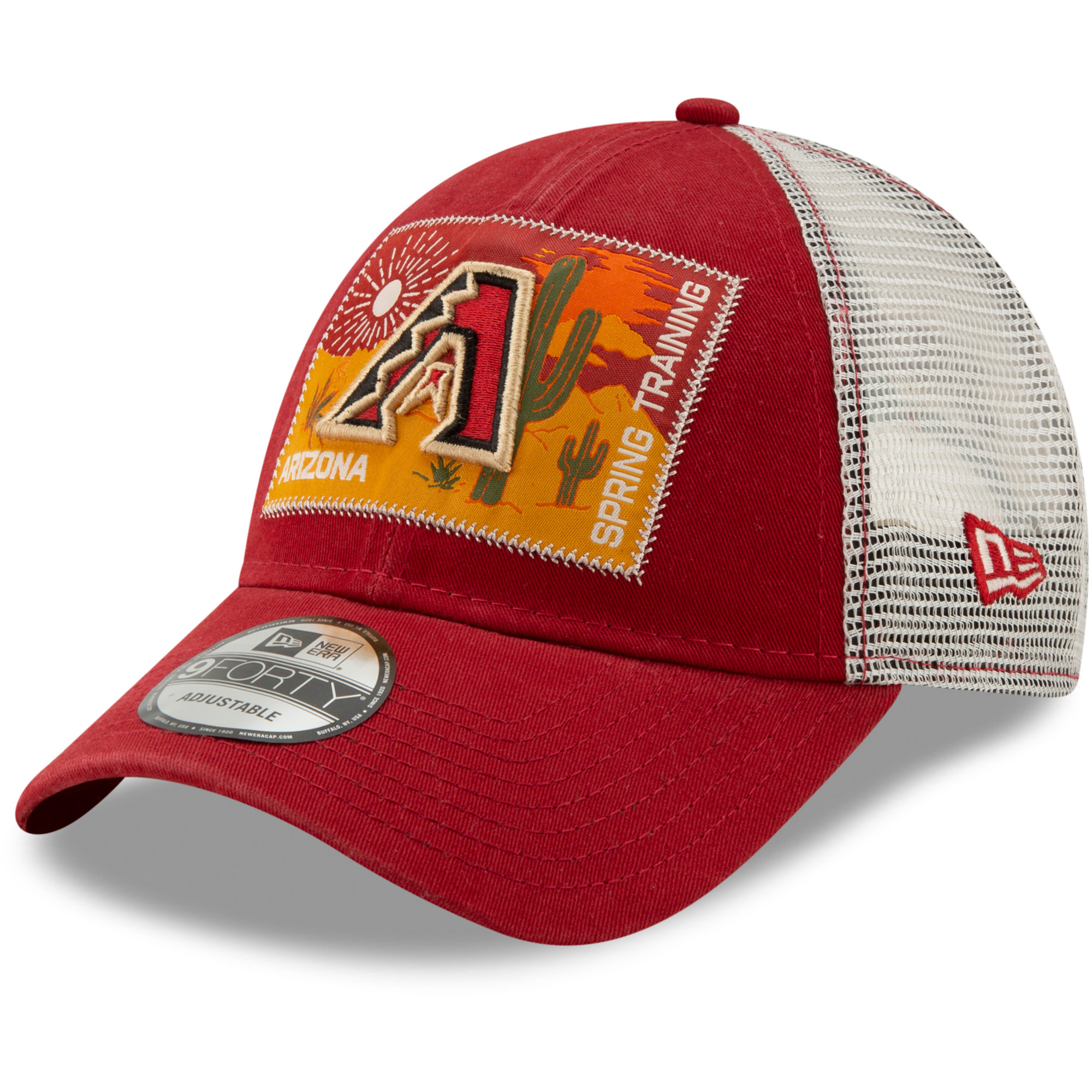 Arizona Diamondbacks New Era Patched Trucker 3 9FORTY Adjustable Snapback Hat - Red/White - OSFA