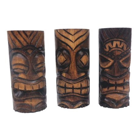 3 Hand Carved Tiki Bar Totem Statues, 6 Inch