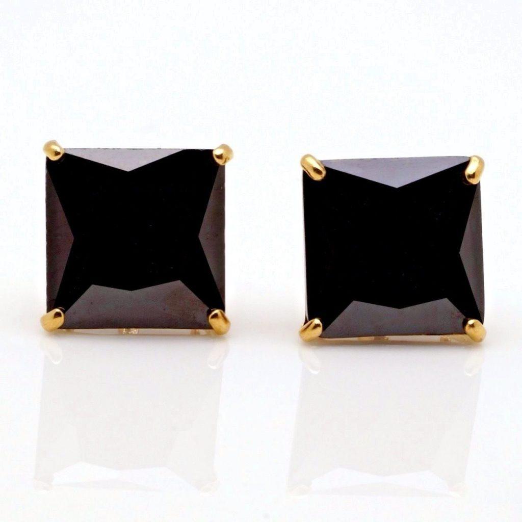 6Ct Princess Cut Created Black Diamond Stud Earrings 14K Solid Yellow Gold 8mm