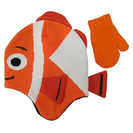 Disney finding Dory Nemo Hat and Mitten Set - Size 2-4 Years - Nemo Hat