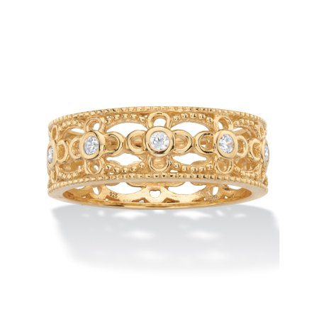 Round Cubic Zirconia Filigree Eternity Ring .25 TCW in 18k Yellow Gold over Sterling Silver Round Filigree Base
