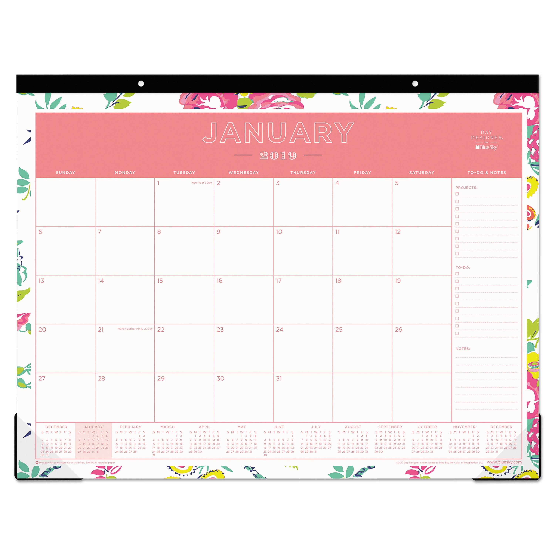 Blue Sky Day Designer Desk Pad Calendar, 22 x 17, 2019 -BLS103631