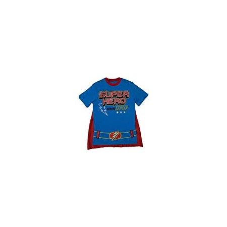 Funstuff Father's Day Super Hero Dad Mens' T-Shirt & Cape, Bue (Small)