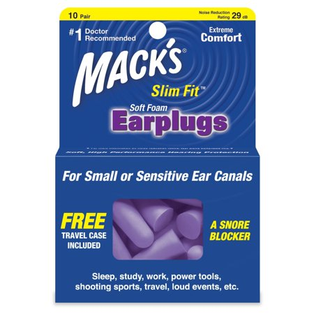 Mack's Slim Fit Soft Foam Earplugs, 10 Pair - Small Ear Plugs for Sleeping, Snoring, Traveling, Concerts, Shooting Sports and Power Tools, These earplugs are.., By