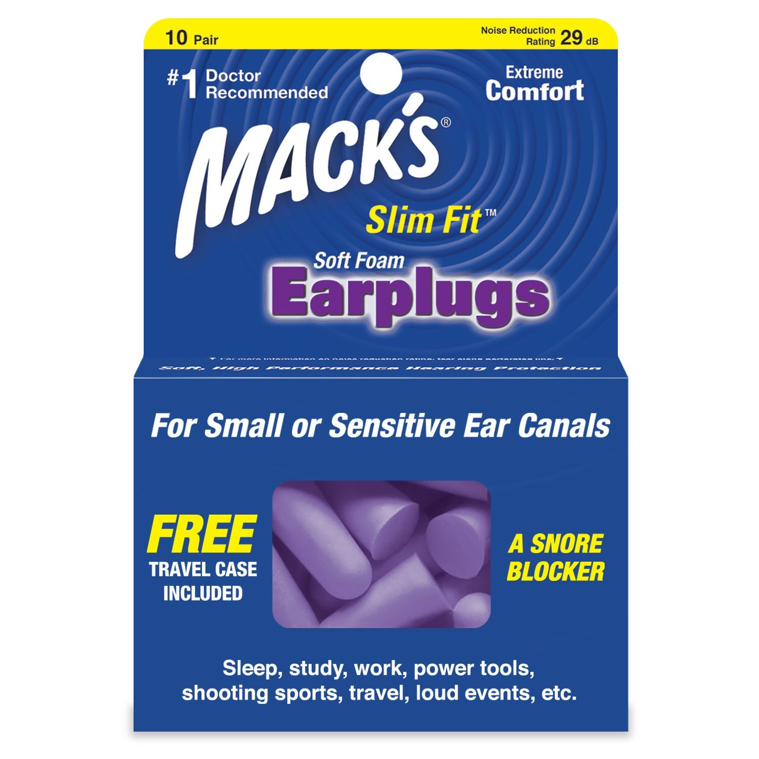 Mack's Slim Fit Soft Foam Earplugs, 10 Pair - Small Ear Plugs for Sleeping, Snoring, Traveling, Concerts, Shooting Sports and Power Tools, These earplugs are.., By Macks