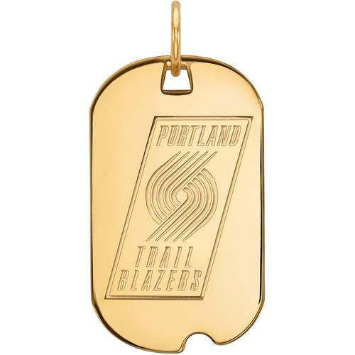 LogoArt NBA Portland Trail Blazers 14kt Gold-Plated Sterling Silver Small Dog Tag