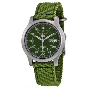 Seiko 5 Military Green Canvas Automatic Men