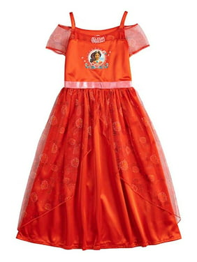Disney Girls Sleepwear Elena Princess Fantasy Nightgown Pajama, Red, Size: 4