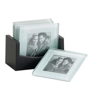 "Leeber Photo Glass Coaster, 4"", Set of 4"