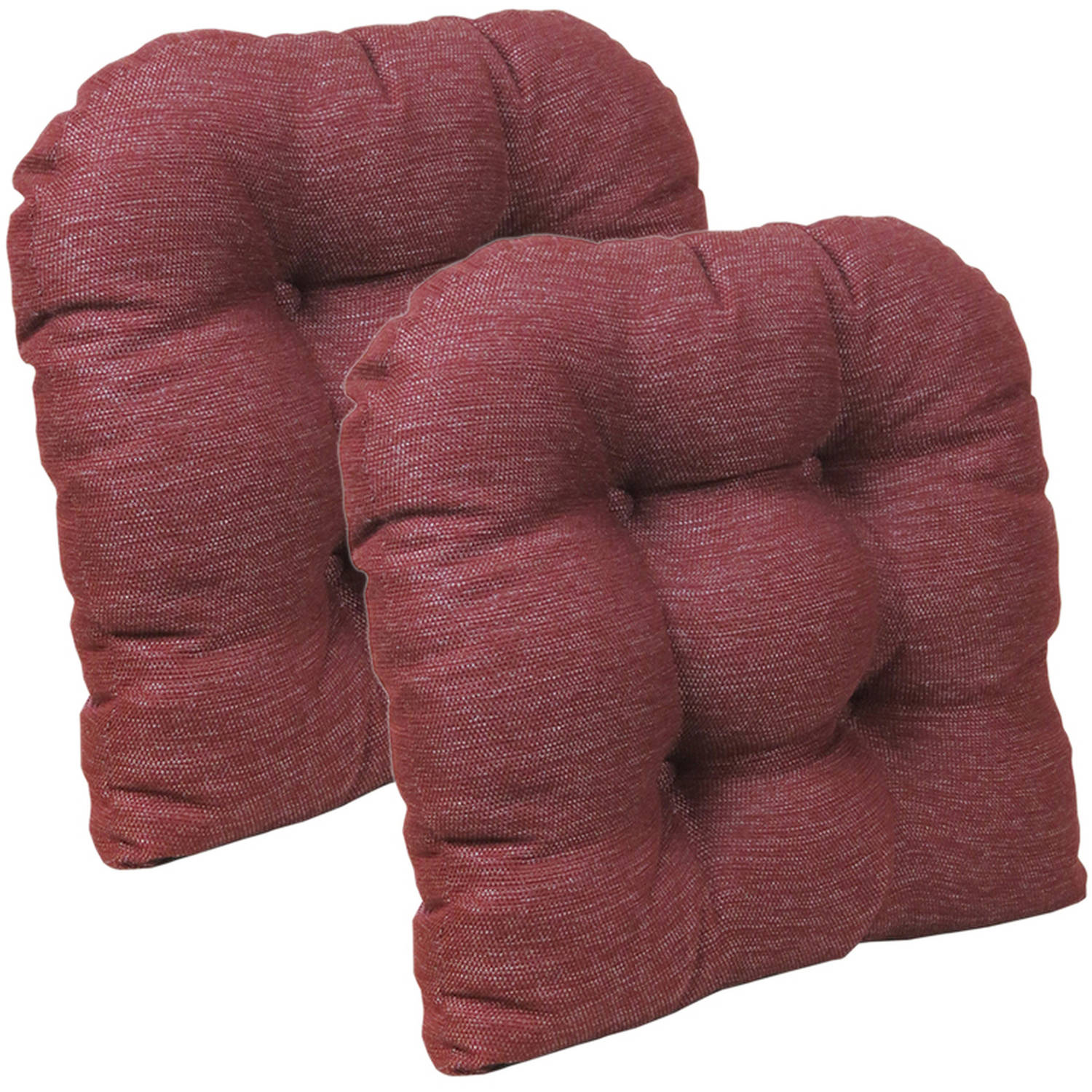 """Gripper Non-Slip 15"""" x 15"""" Stoked Tufted Universal Chair Cushions, Set of 2"""