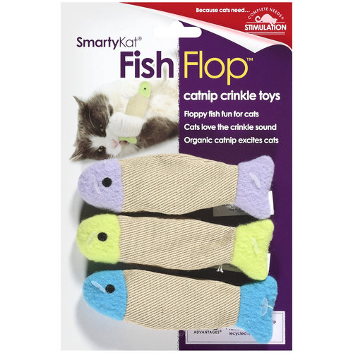 SmartyKat FishFlop Catnip Crinkle Cat Toy, 3ct