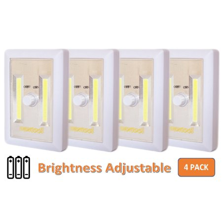 Cordless Led Grill Light - Dimmable Battery Included COB Cordless LED Light, Adjustable Brightness, 200 Lumen, Batteries & Adhesive Strips Included, 4-Pack