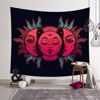Sun Moon Palm Building Map Boho Tapestry Hippie Wall Hanging Bedspread Throw Cover Art Decor Home Decor red sun