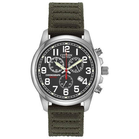 Citizen Eco Drive Men's AT0200-05E Green Nylon Strap with Black Dial Watch - Hour Dial Green Nylon Strap