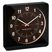 Marathon Studio Edition 12 Inch Analog Wall Clock with Auto Back Light and Non Ticking Silent Sweep. Commercial Grade. Batteries Included (Black Studio)