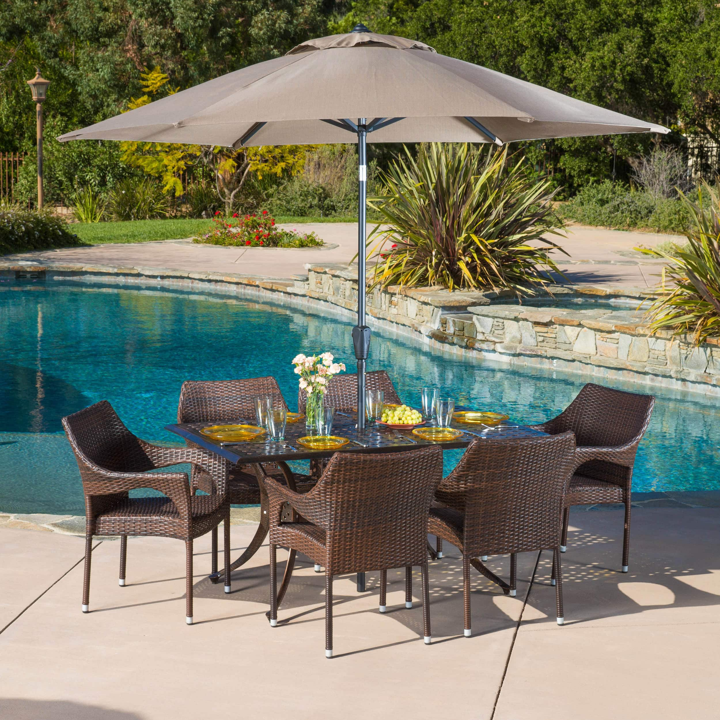 Christopher Knight Home Cliff Rectangular Outdoor Cast and Wicker 7-piece Set by