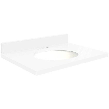 Transolid Quartz 43 X 22 Bathroom Vanity Top With Eased Edge 8 Centerset And White Bowl