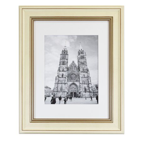 Golden State Art, 11x14 Picture Frame, Cream Color with Brown Trim, 2-inch Molding, with Real Glass & White Mat for 8x10 Photos ()