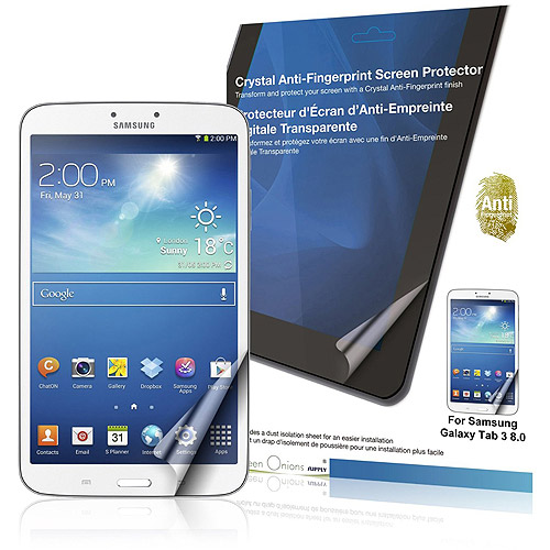 Green Onions Supply Crystal Anti-Fingerprint Screen Protector for Samsung Galaxy Tab 3 8.0