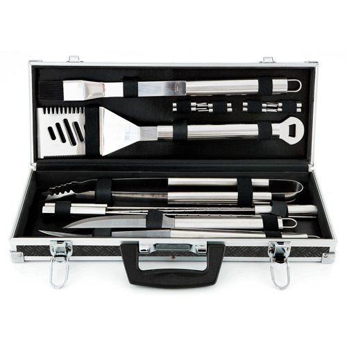 18-Piece BBQ Tool Set, Black Aluminum Tire-Track Case