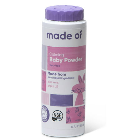 (1-Pack) MADE OF Organic Baby Powder from Organic Cornstarch - 100% Natural and NON-GMO - NSF Organic Certified, EWG Rated - Talc Free - For Sensitive Skin and Eczema - 3.4 oz (Fragrance Free)