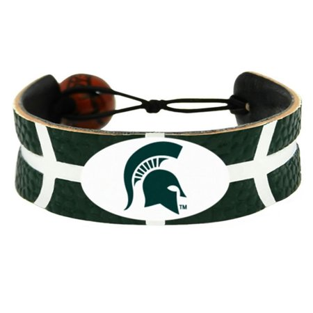 - NCAA Michigan State Spartans Sports Team Logo Gamewear Leather Basketball Bracelet