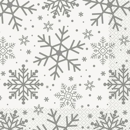 Fold Holiday Napkins (Silver Snowflakes Holiday Paper Luncheon Napkins, 6.5 in,)