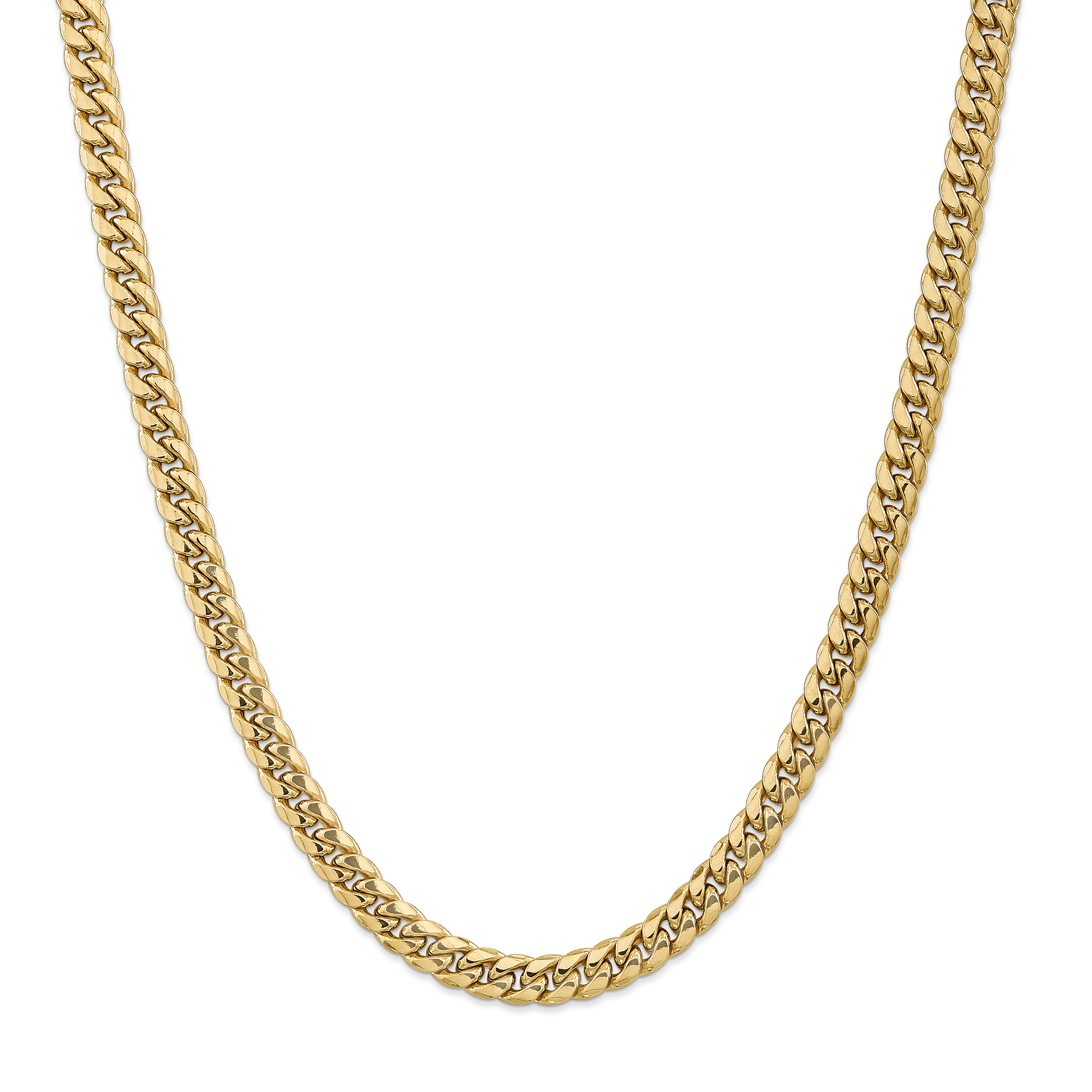 14K Yellow Gold 7.3mm Semi-Solid Miami Cuban Chain 22 Inch