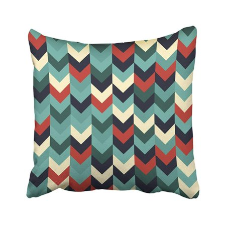 WOPOP Chevron Zigzag Arrows Geometric In Mixed Order Colorful Black Red Orange Beige Green Teal Pillowcase Pillow Cover 18x18 inches