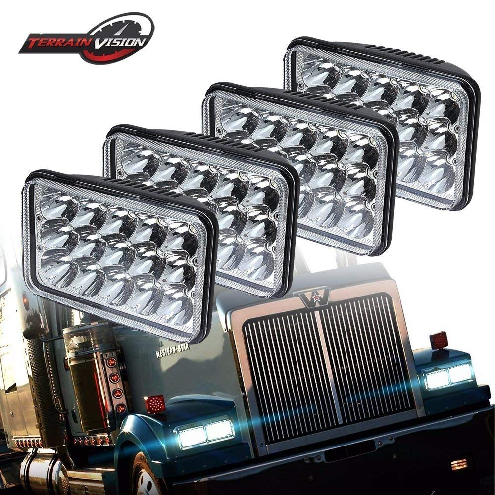 4Pcs Dot 4x6 Inch LED Headlights Rectangular Replacement H4651 H4652 H4656 H4666 H6545 For Peterbil Kenworth T800 T4000 Freightinger Ford Western Star Trucks Chevrolet C4500 C5500 Kodiak Isuzu NQR