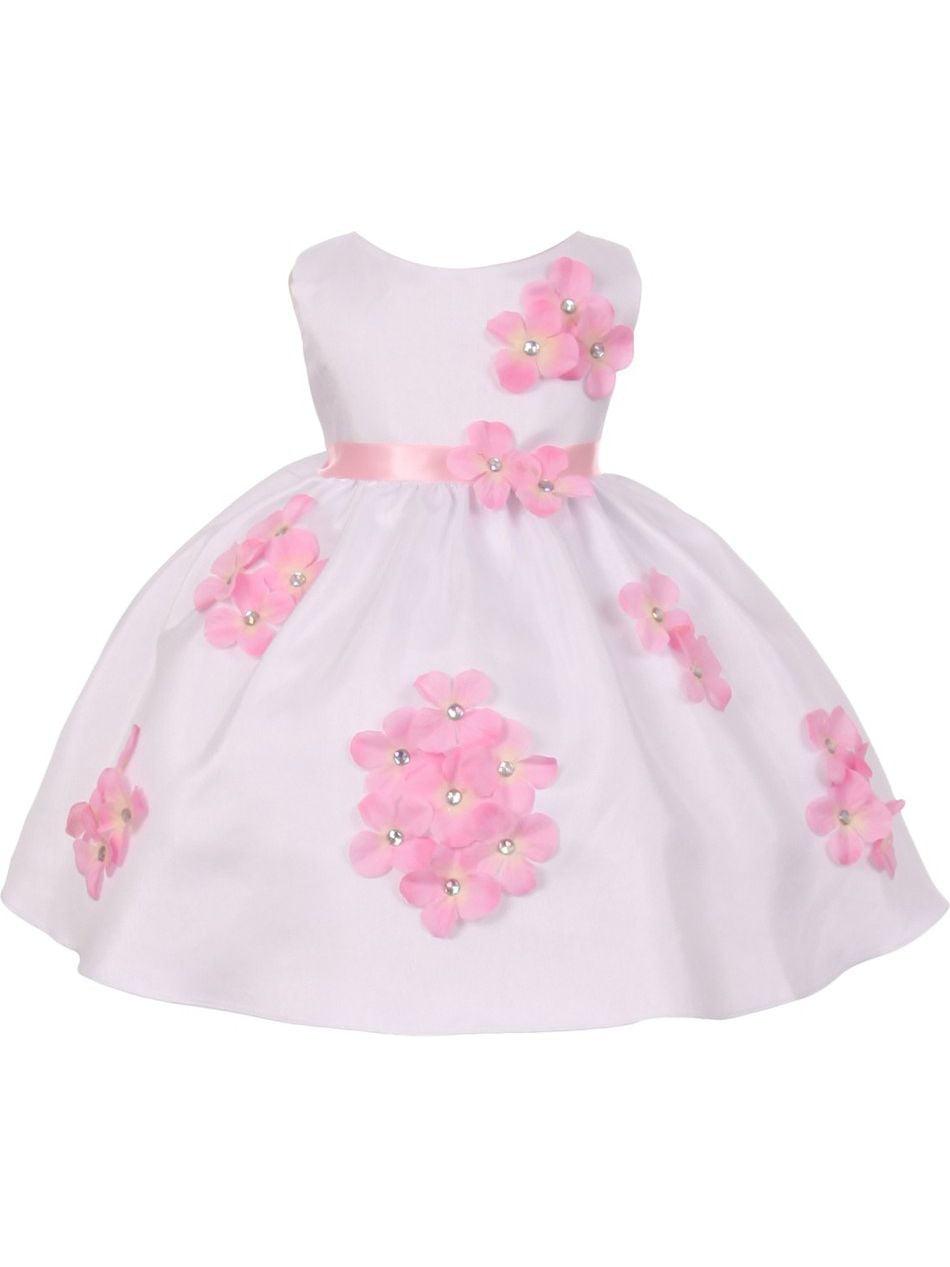 Kids Dream Baby Girls Pink Shantung Flower Petals Special Occasion Dress 6-24M