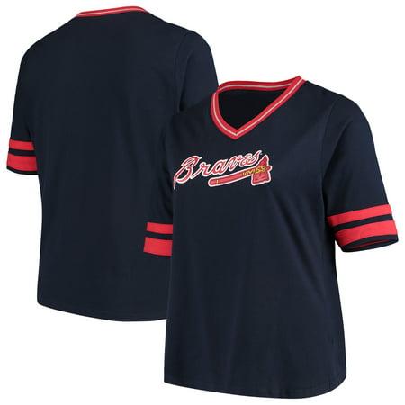 best service 2b888 a9a78 Atlanta Braves Women's Plus Size V-Neck Jersey T-Shirt - Navy/Red