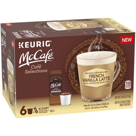 McCafe Cafe Selections French Vanilla Coffee Keurig K Cup Pods & Froth Packets, 6 ct Box ()