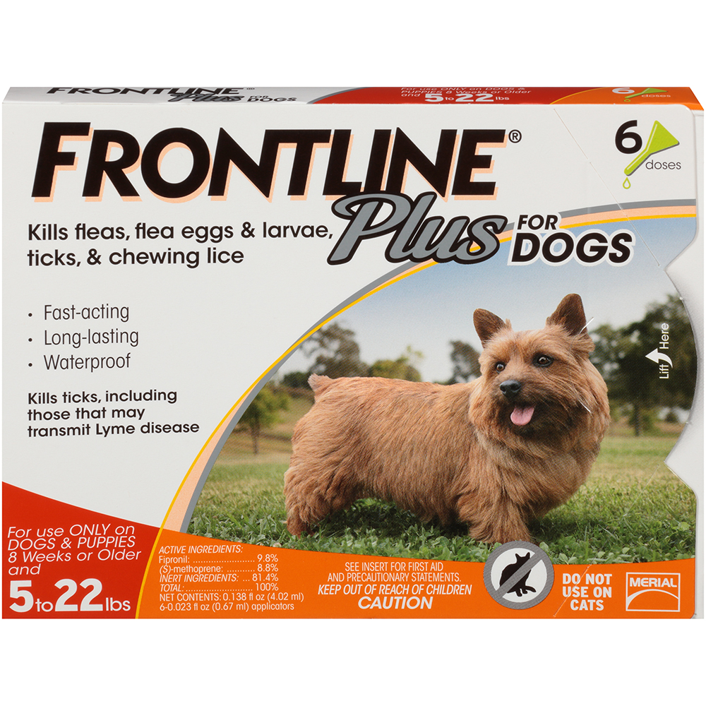 FRONTLINE Plus for Dogs Small Dog (5-22 pounds) Flea and Tick Treatment, 6 Monthly Treatments
