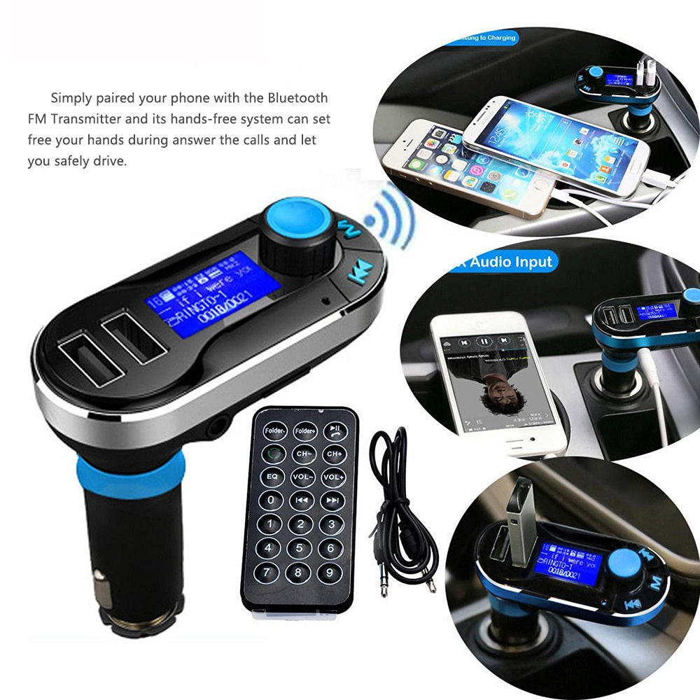 Agptek Newest Wireless Bluetooth Car Kit FM Transmitter with Hands-Free Function MP3 Player SD ...