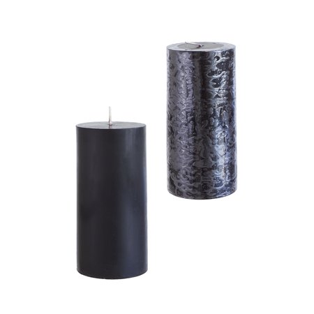 Mega Candles - Unscented 3 Inch x 6 Inch Round Hand Poured Pillar Candle - Black