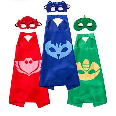 PJ MASKS Costumes and Dress up for Kids - Capes and Masks for Catboy Owlette Gekko Green - Lady Of The Night Costume