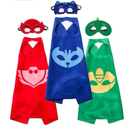 PJ MASKS Costumes and Dress up for Kids - Capes and Masks for Catboy Owlette Gekko Green