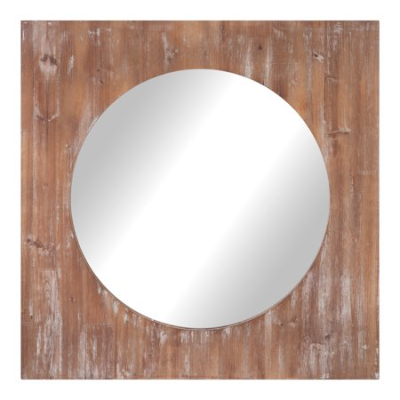 Round Distressed Reclaimed Wood Mirror 36