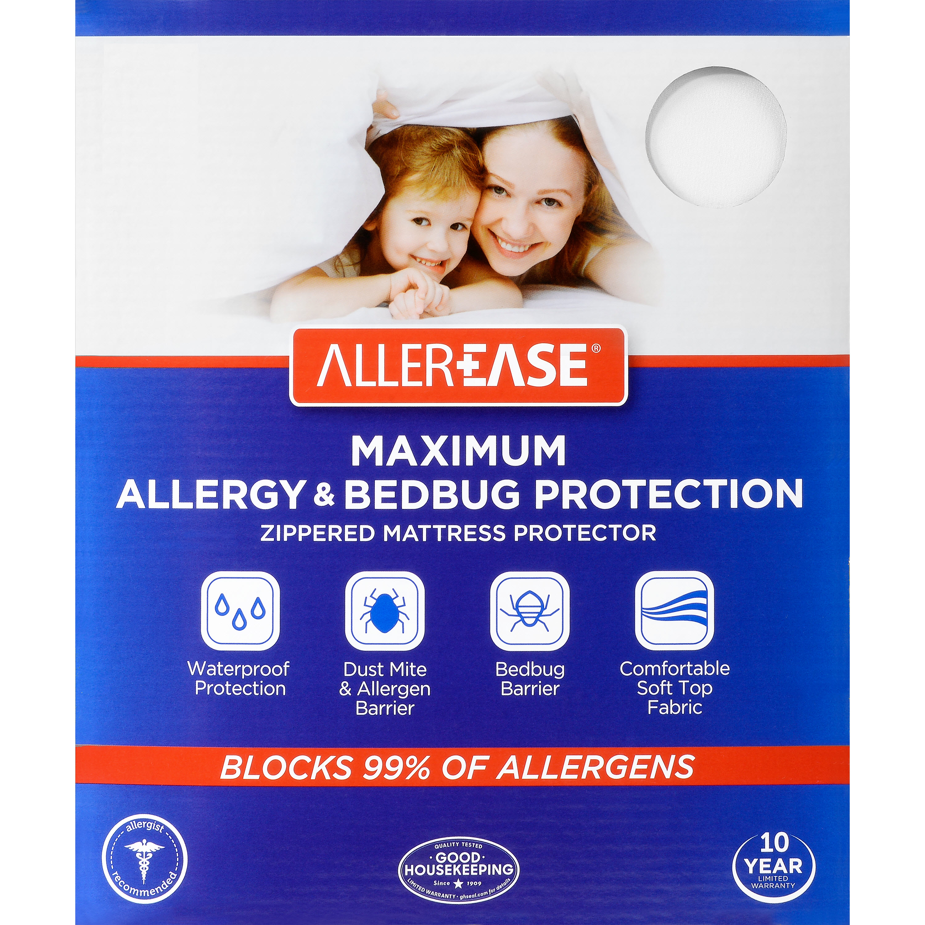 Aller Ease Maximum Allergy & Bed Bug Protection Zippered Mattress Protector by Aller Ease