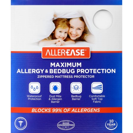 AllerEase Maximum Allergy & Bed Bug Protection Zippered Mattress Protector, Twin (Queen Size Cover Bed Bugs)