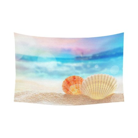 PHFZK Ocean Wall Art Home Decor, Seashells on the Sandy Beach Tapestry Wall Hanging 60 X 90 Inches