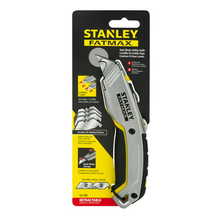 100 Utility Knife Blades - STANLEY FatMax 10-789 Twin Blade Utility Knife