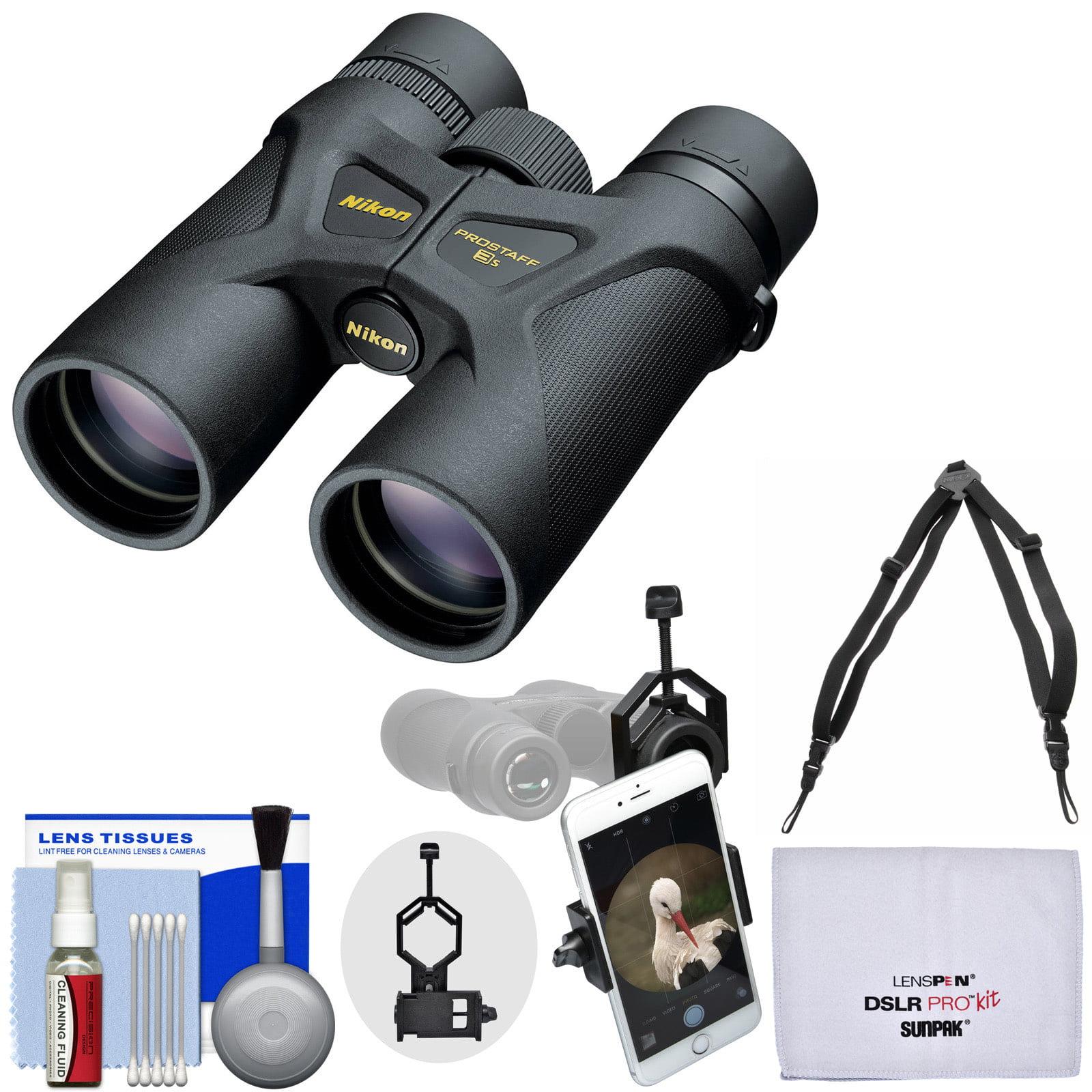 Nikon Prostaff 3S 10x42 Waterproof / Fogproof Binoculars with Case + Harness + Smartphone Adapter + Cleaning Kit