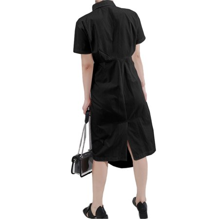VONDA Women's Solid Cotton Dress Casual Lapel Short Sleeve Shirtdress - image 4 de 8