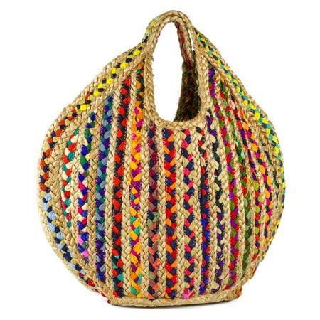 Magid Women's Stripe Jute Beach Tote Bag