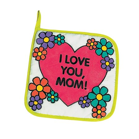 Color Your Own Mom Canvas Pot Holders (1Dz) - Craft Kits - 12 Pieces Pot Holder Crafts