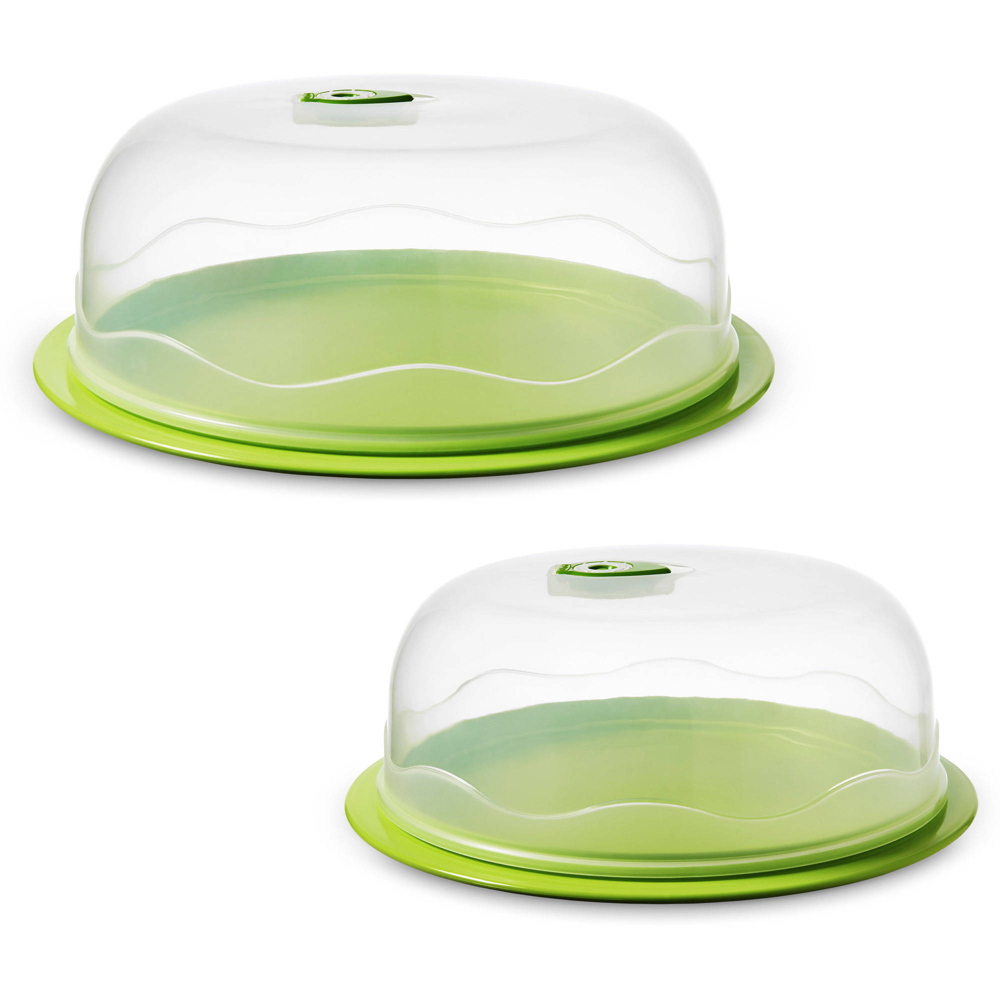 Ozeri INSTAVAC Ready-Serve Domed Food Storage Container, 4-Piece Nesting Set with Vacuum Seal, Clear